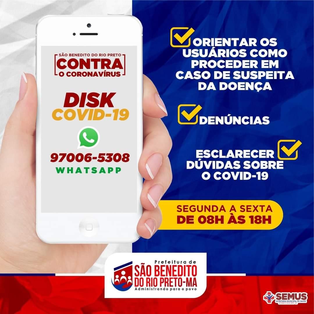 Disk Covid 19, Disponível em São Benedito do Rio Preto.