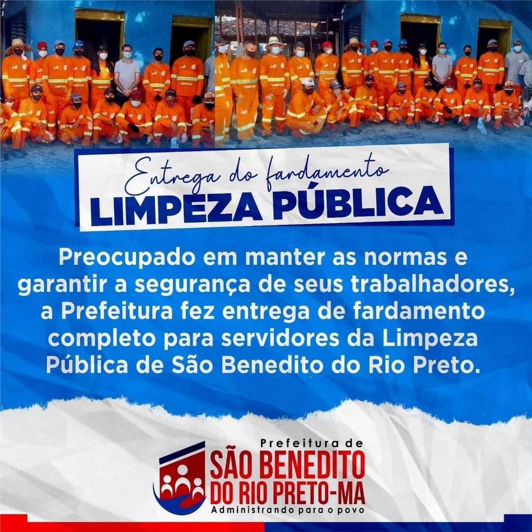 Preocupado em manter as normas e garantir a segurança de seus trabalhadores, a Prefeitura fez entrega de fardamento completo, incluindo luvas e máscaras para servidores da Limpeza Pública de São Benedito do Rio Preto.